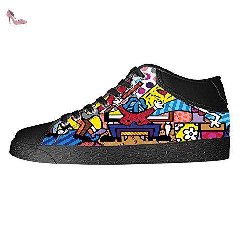 Dalliy rose rouge et du crane Men's Canvas Shoes Lace-up High-top Footwear Sneakers Chaussures de toile Baskets - Chaussures dalliy (*Partner-Link)