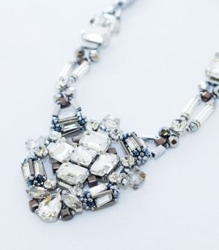 Silver Crystals braided Statment Necklace