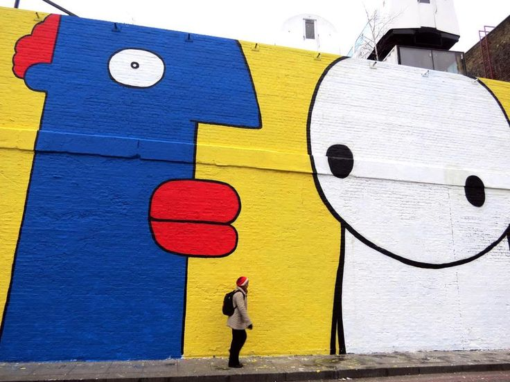 Artist : Stik x Thierry Noir. Place : London, UK. Tags : street Art, graffiti, urban culture.