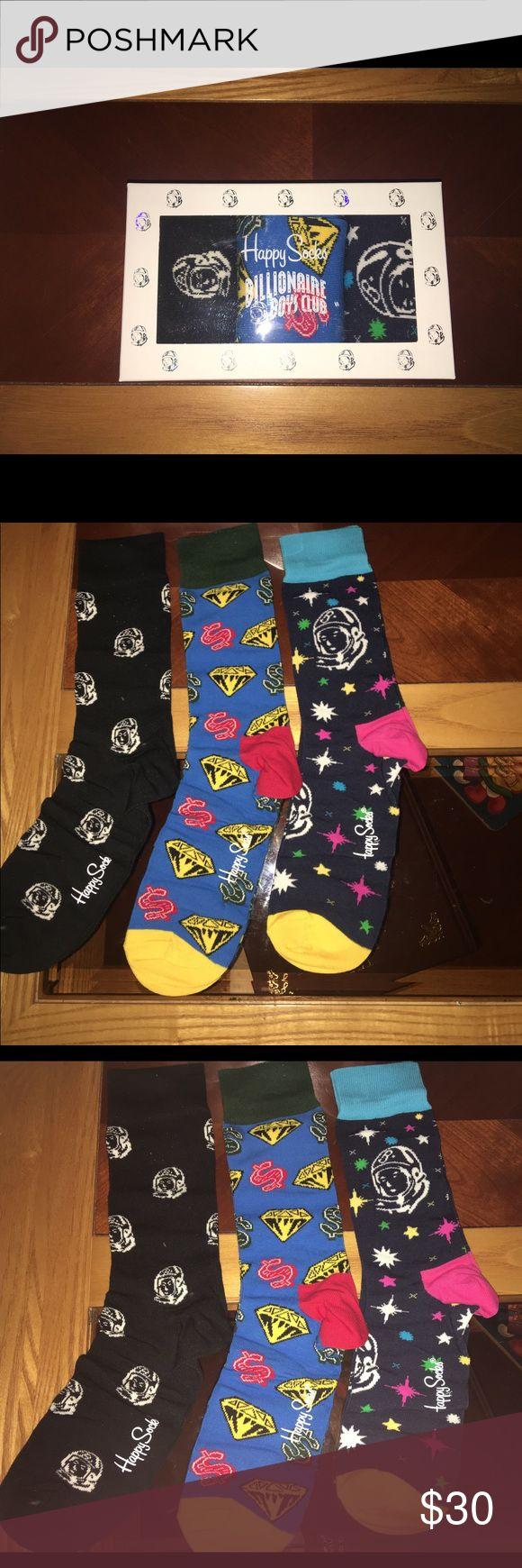 Happy Socks x Billionaire Boys Club box set Happy socks x Billionaire Boys Club 3pair socks box set. 10-13 sock size =Men's 8-12 Ladies 10-12.5 comb cotton blend Happy Socks Accessories Hosiery & Socks