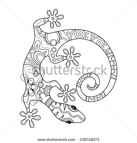 Vector Tribal Decorative Lizard. Patterned Design, Tattoo - stock vector
