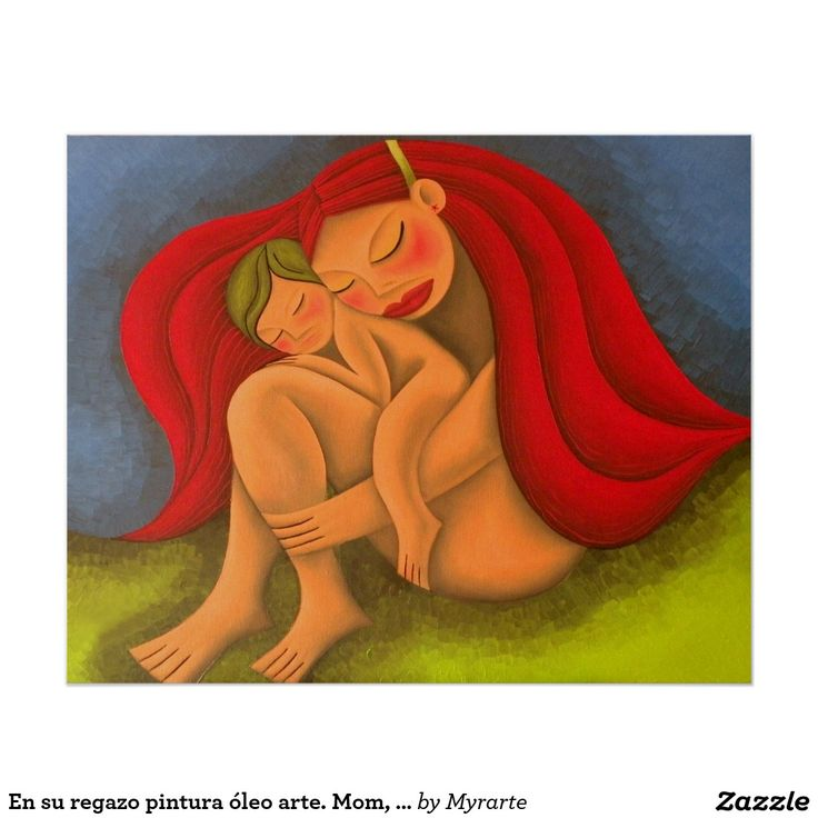 En su regazo pintura óleo arte. Mom, mother. Regalos, Gifts. #poster