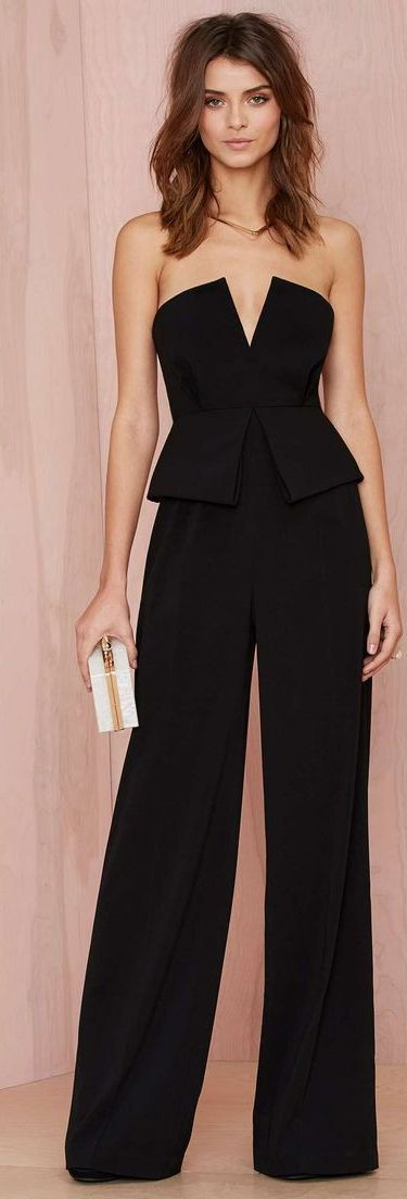 Black Peplum Jumpsuit women fashion outfit clothing style apparel @roressclothes closet ideas
