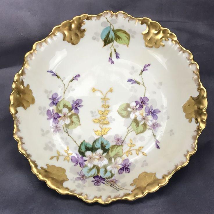"""A Klingenberg AK France Limoges Hand Painted violets & Gold 10"""" Serving Bowl #LIMOGES"""