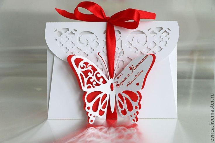 """Купить """"Бабочка"""" конверт для денег - комбинированный, белый, красный, конверт, для денег, подарок для женщины, подарок"""