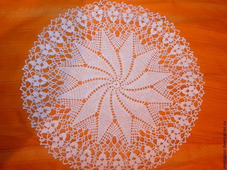 """Купить Салфетка """"Ассоль"""" - белый, салфетка крючком, салфетка декоративная, салфетка ажурная, текстиль для дома"""