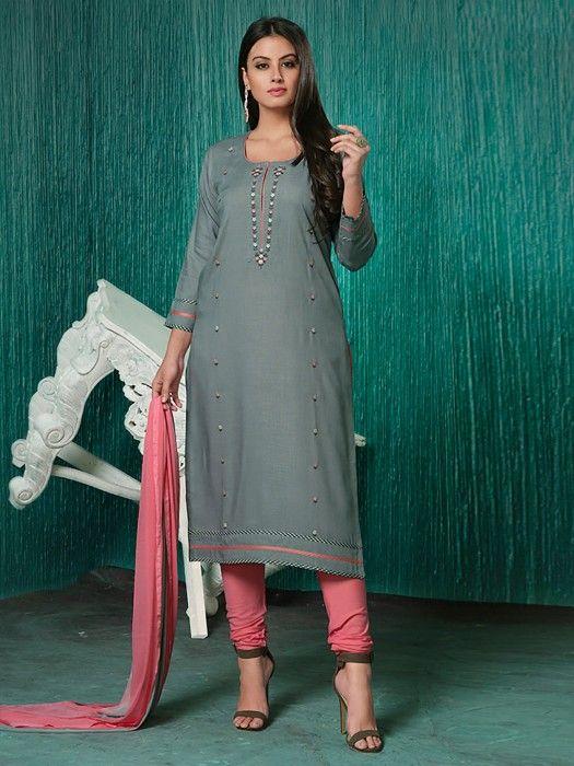 08ca22f192 Exclusive Grey Hue Cotton Fabric Punjabi Salwar Suit, Latest Designer party  wear salwar kameez for