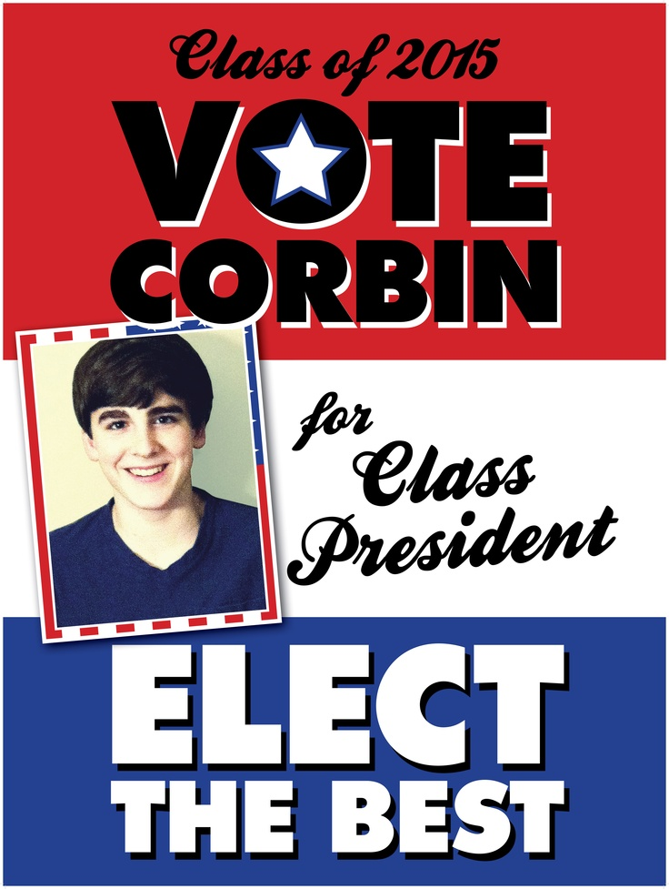 Vote for class president poster red white blue vintage ...