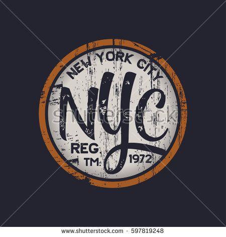 Vector illustration on a theme of New York City. Vintage design. Grunge background. Stamp typography, t-shirt graphics, poster, banner, print, flyer, postcard