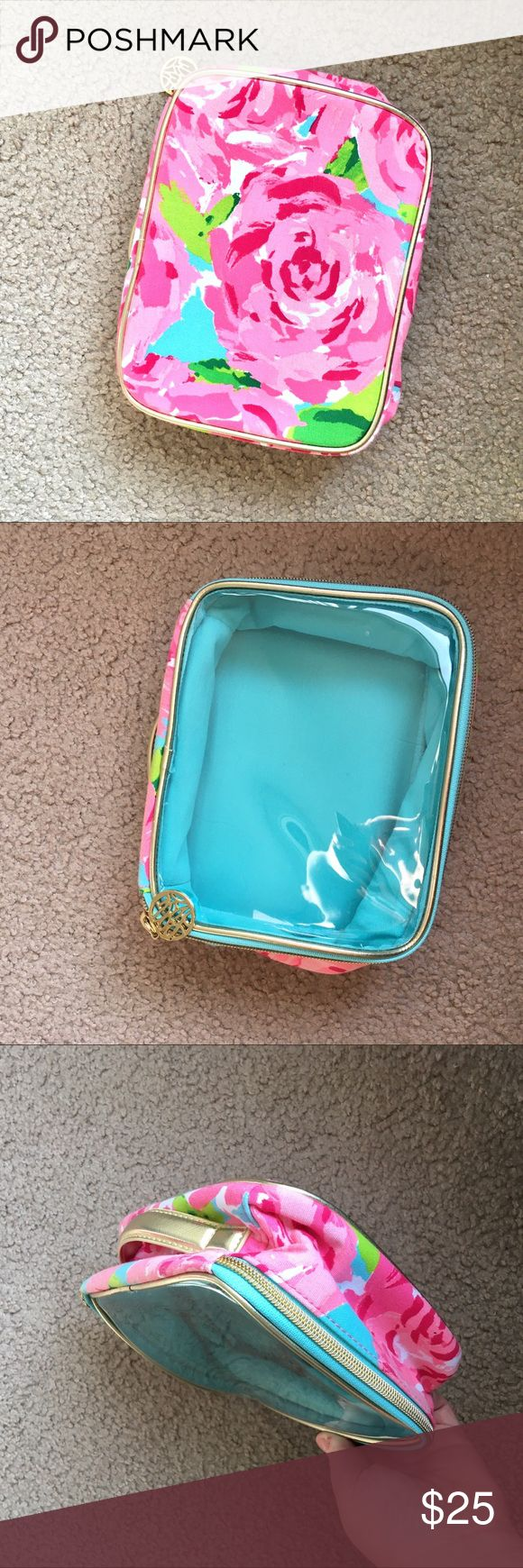 Lilly Pulitzer makeup cosmetic bag clear top rose | Lilly ...