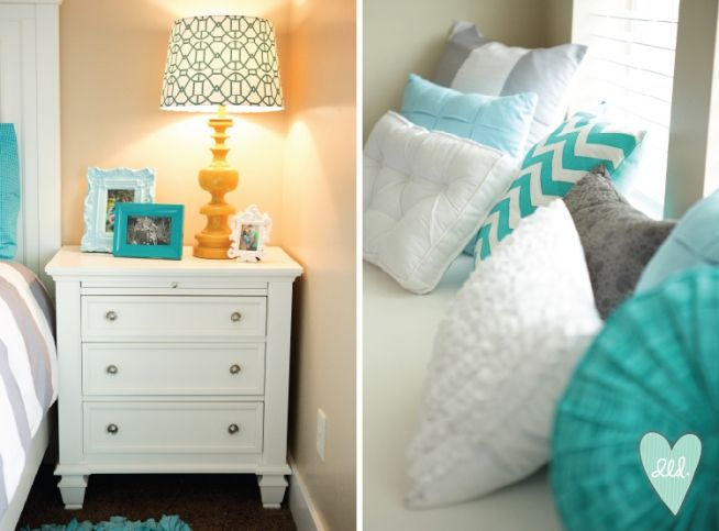 Teal, Grey, Mustard & White Room Accessories--This is for Rachel to pin...love the color scheme for a bedroom (tan/grey walls, teal accessories, white furniture/end tables, tan/white headboard)