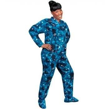 PajamaCity offer the best PajamaCity Blue Aquarium Print Polar Fleece Drop Seat Pajamas with Feet for Teens and Adults Size 3 (5'0o to 5'3o). #pajamas #footed