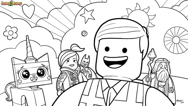 Coloring page of the lego movie cast including emmet wyldestyle unikitty batman and