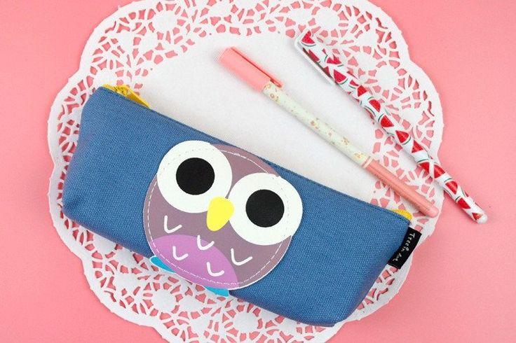 Blue Owl Pencil Case #Blue #Canvas #Pencil-Case