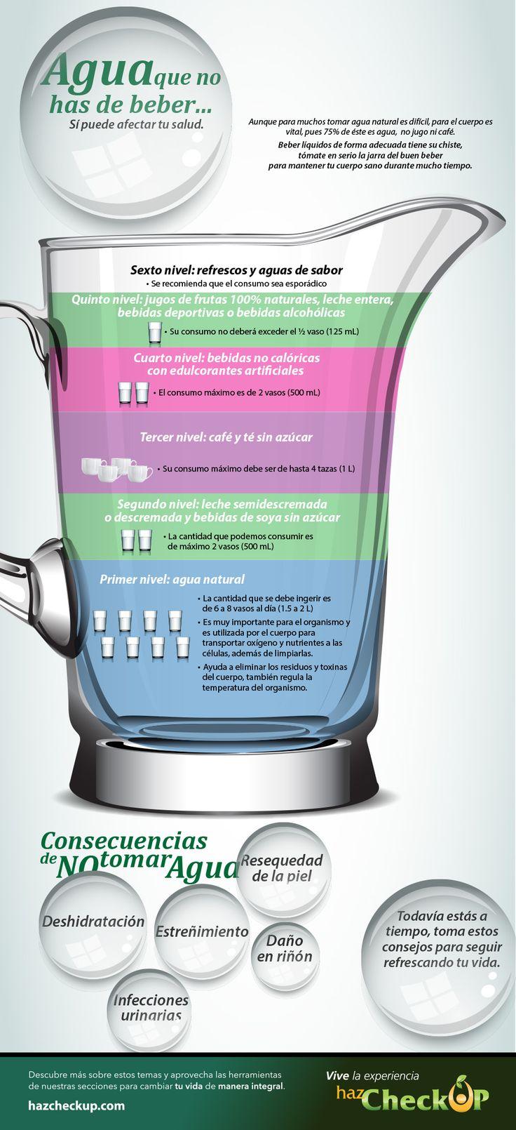 Toma entre 6 y 8 vasos de agua al día.  Consulta la jarra del buen beber: http://hazcheckup.com/alimentate-sano/jarra-buen-beber