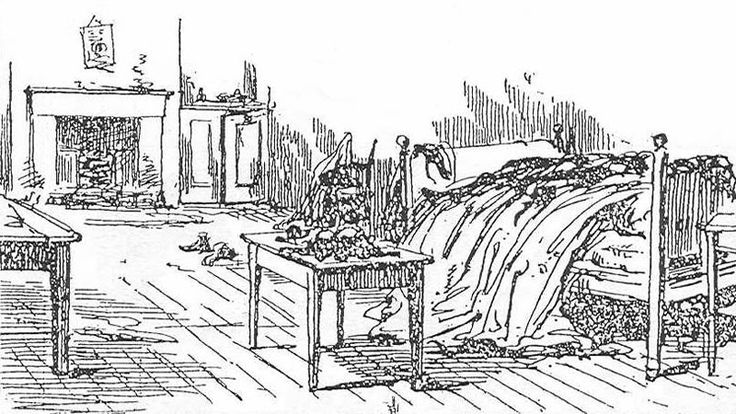 Contemporary sketch of Mary Kelly's room.
