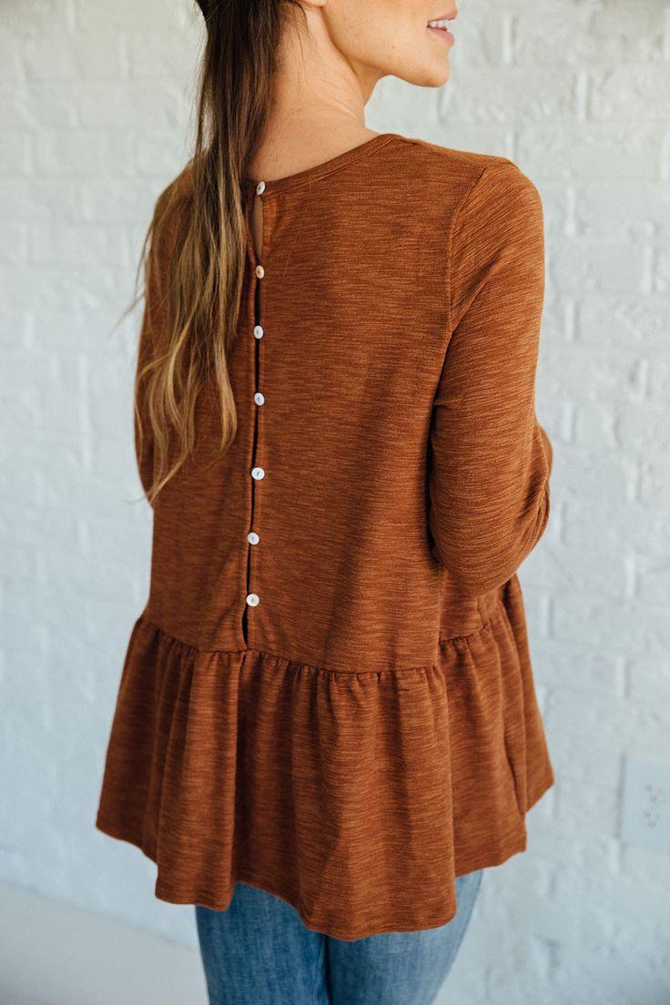 Rust Button-Back Peplum | Clad & Cloth Apparel