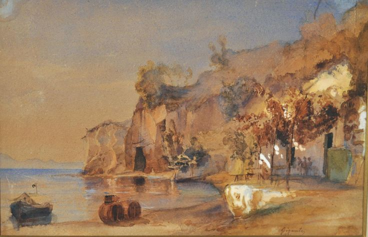 Gigante Giacinto (Napoli 1806 - 1876) Paesaggio acquerello su carta, cm 22x34