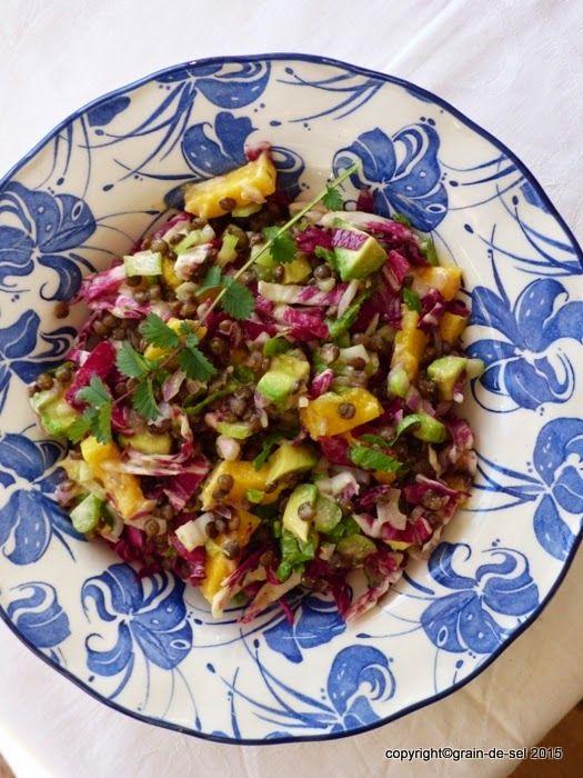 Linse - die Perle: Linsensalat mit Chicoree, Avocado und Mango