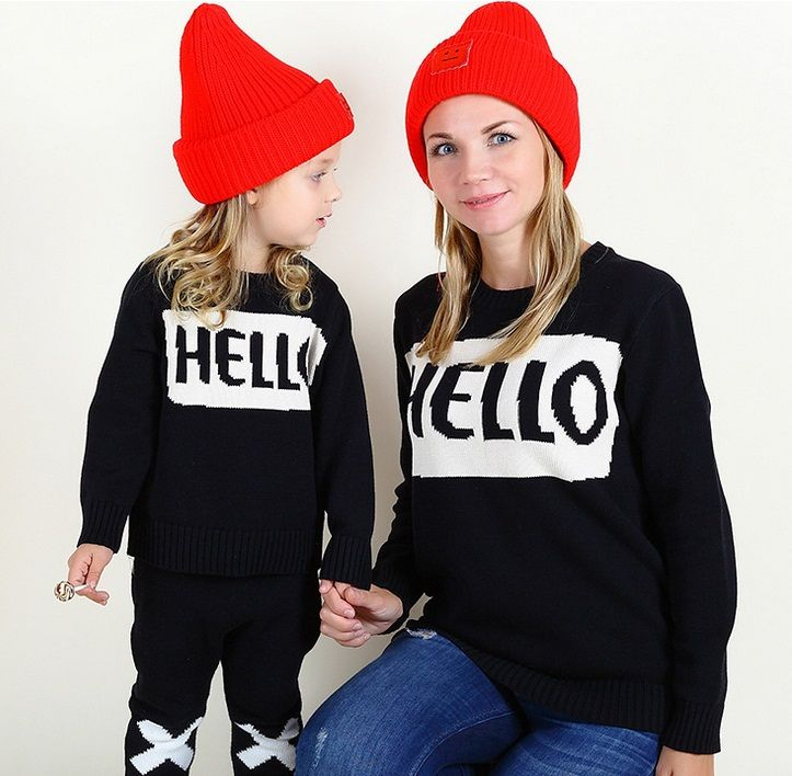 Brand Family Look Printed Autumn Winter Long Sleeve Sweater Matching Family Clothing Black Mother And Daughter Clothes