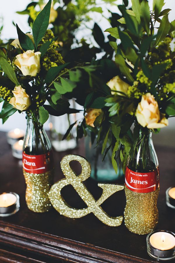 DIY Share a Coke bottle centerpieces - photo by Emily Chidester http://ruffledblog.com/diy-share-a-coke-bottle-centerpieces