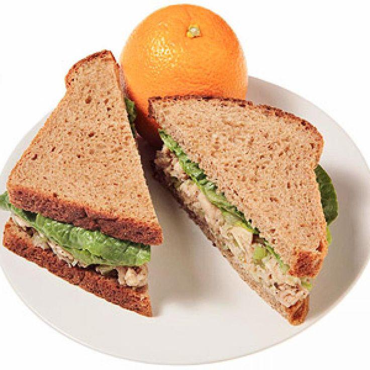 After: Whole Wheat Tuna Fish, Hummus and Spinach Sandwich - Fitnessmagazine.com hummus instead of mayo