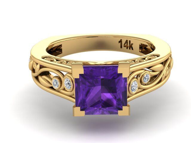 Bridal Ring With Genuine Natural Amethyst Center Stone and Natural High Quality Diamonds, Yellow Engagement and Proposal Ring,Christmas gift by BridalRings on Etsy https://www.etsy.com/listing/253033367/bridal-ring-with-genuine-natural
