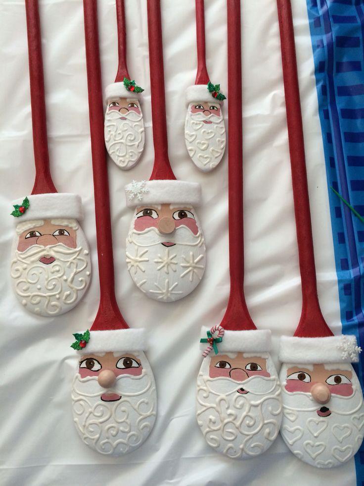 Assorted wooden spoon Santas.