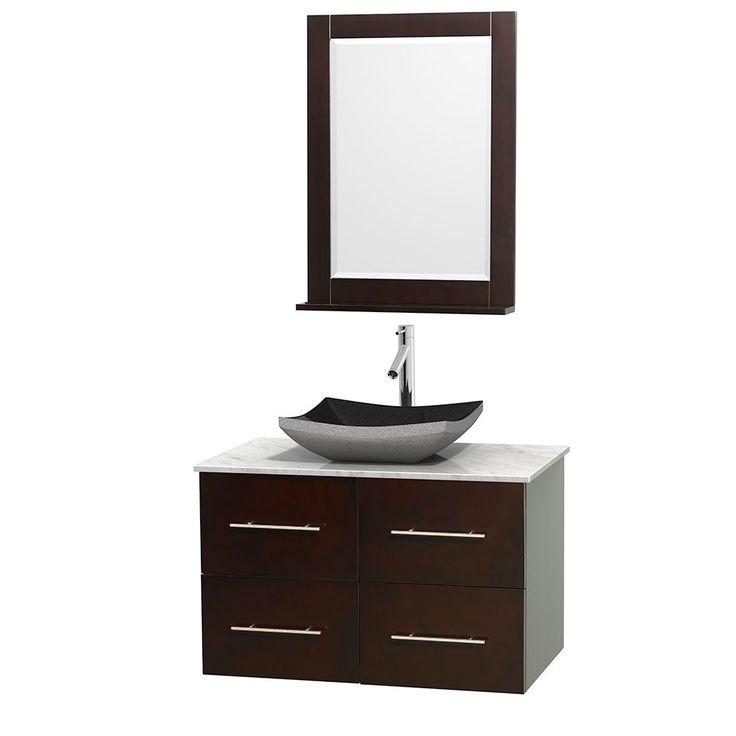 Wyndham Collection Centra 36-inch Single Bathroom Vanity in Espresso, w/ Mirror (Black Granite, Ivory Marble or White Carrera) (Espresso,WTCarrera Top,Avalon Car Sink,Mir), Brown, Size Single Vanities