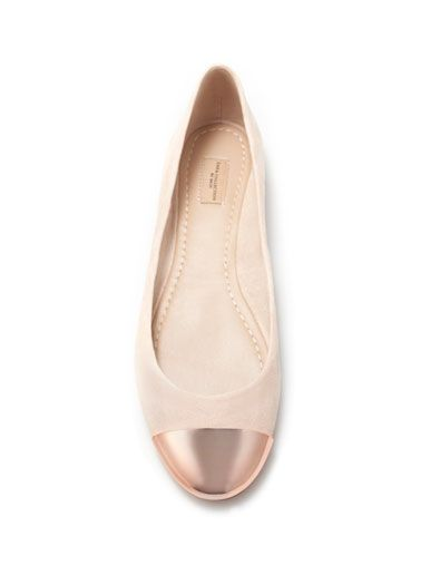zara ballet flat with rosegold metal
