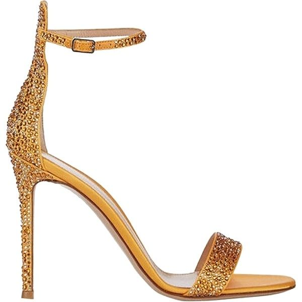 Pre-owned Gianvito Rossi Orange Satin Embellished Glam Ankle-strap... ($650) ❤ liked on Polyvore featuring shoes, sandals, orange, satin shoes, embellished sandals, ankle tie shoes, orange shoes and ankle strap sandals