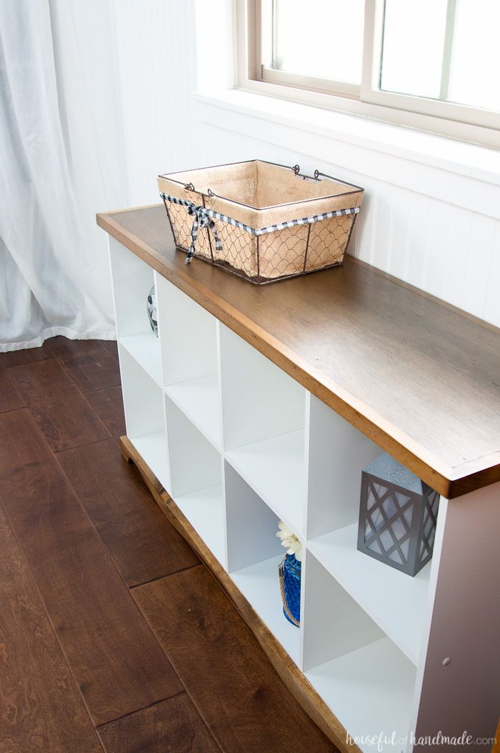 Farmhouse Console Table Diy From Cube Bookcase Cube Bookcase