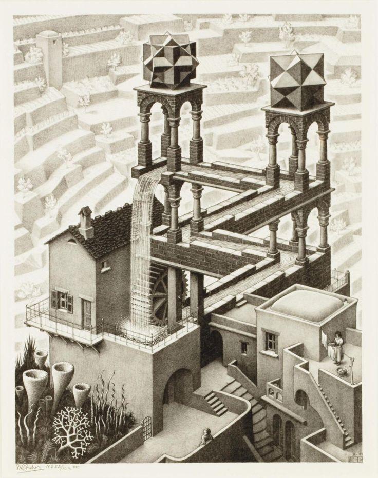 Maurits Cornelis Escher (1898-1972) Waterfall 1961 (521 x 426 mm)
