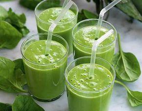 En riktig hälsoboost - grön smoothie med spenat. Fräscht!
