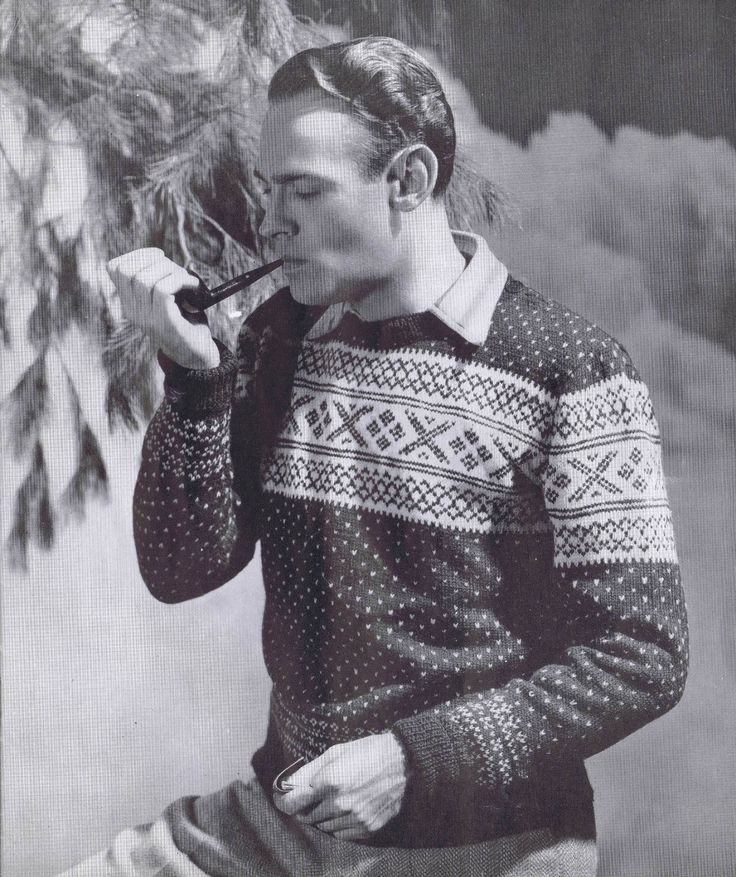 Men's Vintage Knitting Patterns Argyle Sweaters Waist Coats Pullovers 1940s