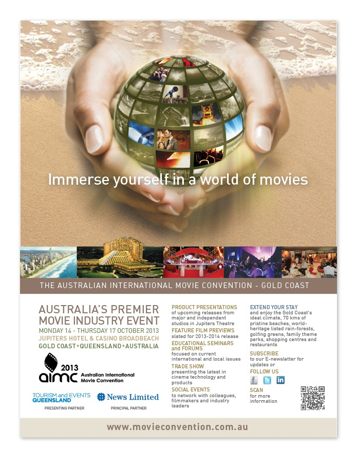 Six Elements is delighted to have formed an association with the Australian International Movie Convention (AIMC). The brief was to deliver a powerful visual identity which would translate across the globe as their signature message and suit various online and offline trade platforms.