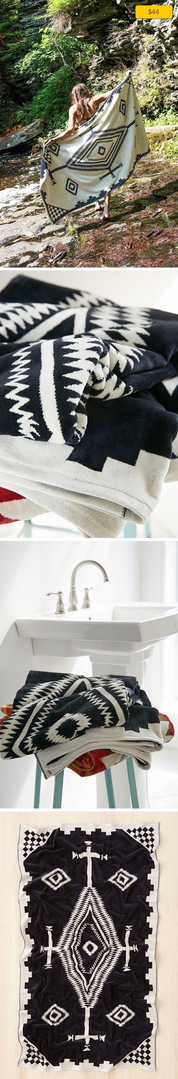 """Pendleton Los Ojos Oversized Jacquard Towel Sale, Apartment Sale, Bath   Soft cotton towel in geo-inspired print from the experts at Pendleton. Keeps you warm + cozy after a shower + great for taking to the beach or a pool! Content + Care - Cotton - Machine wash - Imported Size - Length: 40"""" - Height: 70"""""""