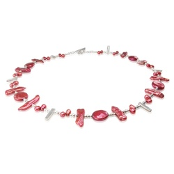 cranberry red modern pearl and silver necklace £60 #modernpearljewellery