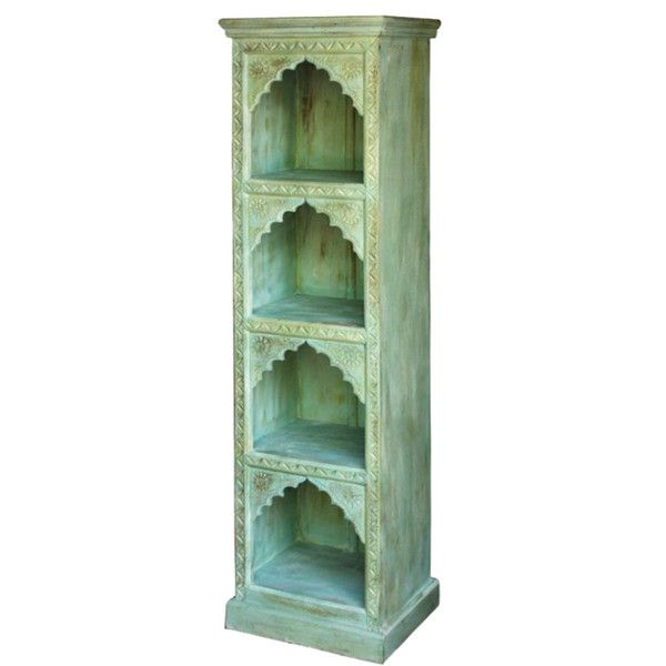 Carved Narrow Mint Bookshelf  http://www.theimporter.co.nz/collections/new