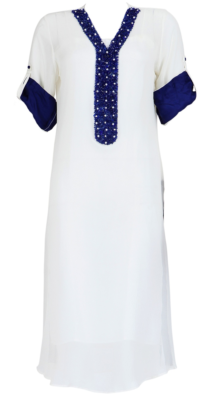 AYESHA KHURRAM  White kurta with blue neckline and sleeves
