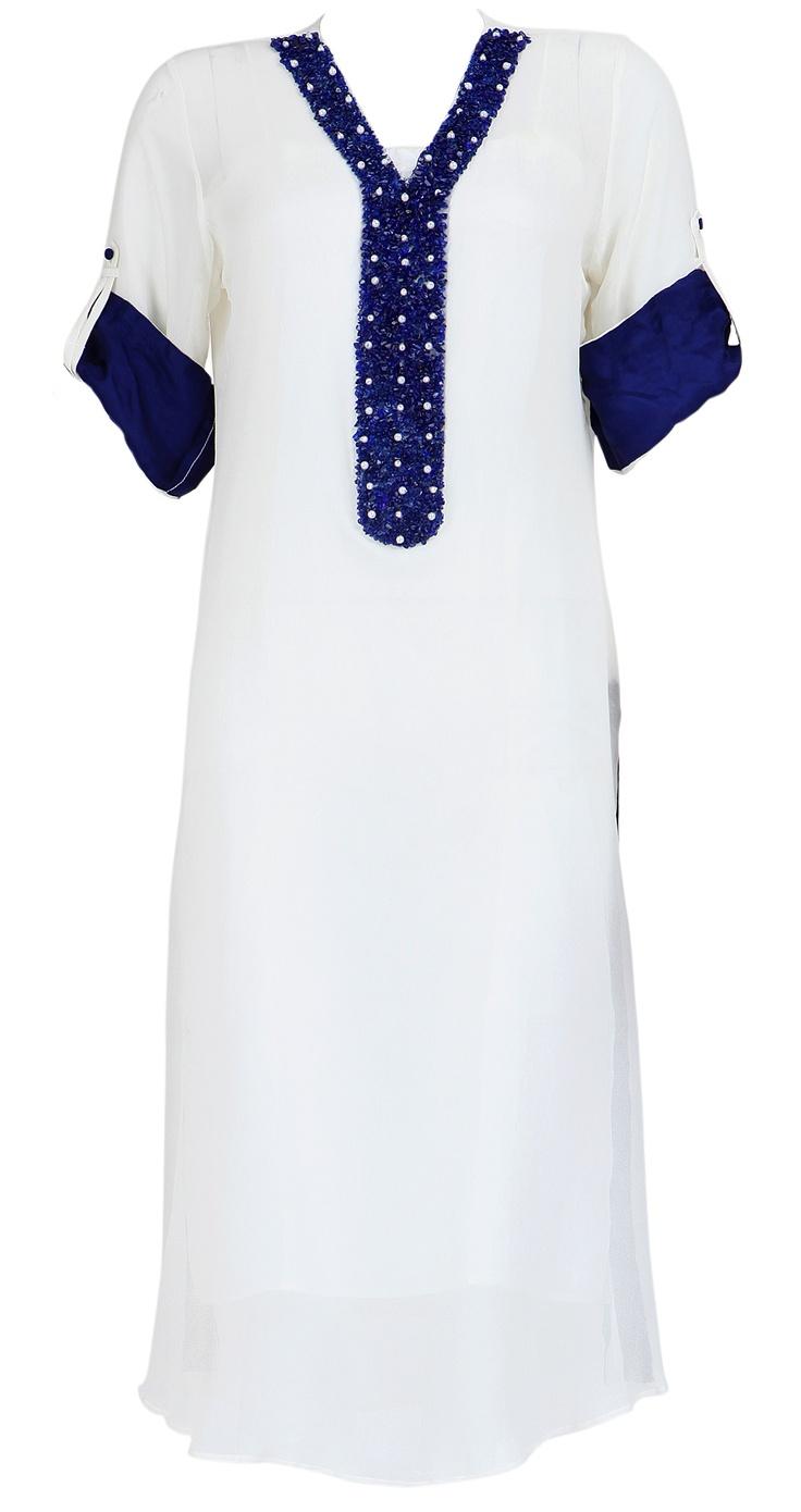 AYESHA KHURRAM  White kurta with blue neckline and sleeves