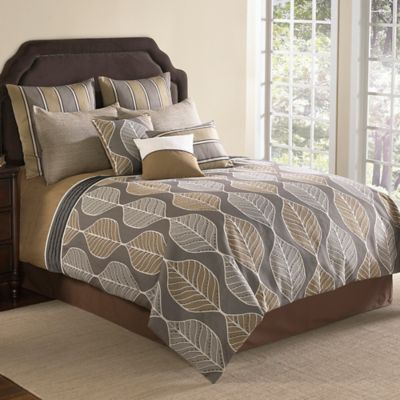 Brenda 9-Piece Comforter Set in Brown - BedBathandBeyond.com