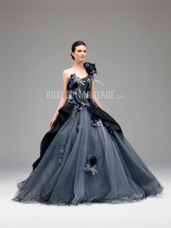 Bustier robe de mariée noire épaule asymétrique fleur tulle organza  [ROBE209643] , robedumariage