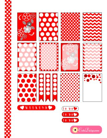 FREE printable red and white polka dots happy planner stickers by Cutedaisy