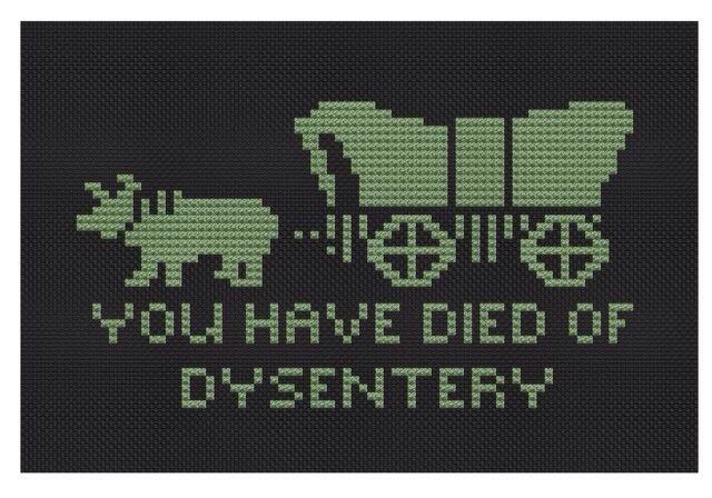 Oregon Trail cross stitch. I LOVE this! I don't remember how to cross stitch though.