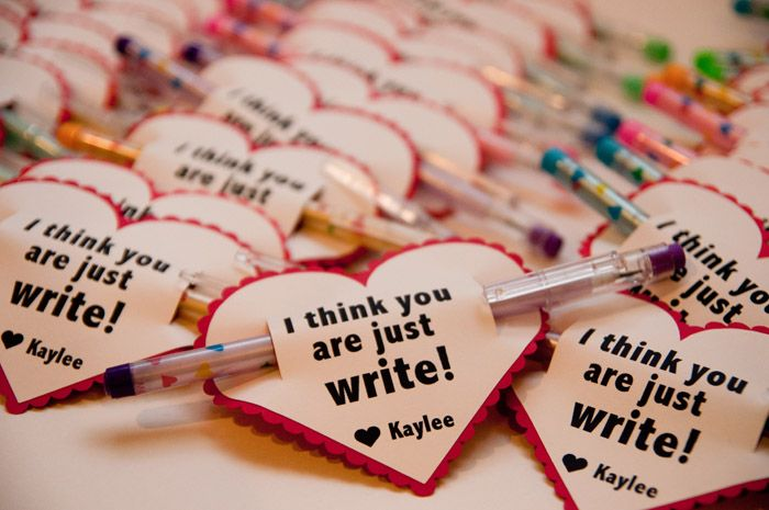 """I think you are just write"" Valentines with a pencil or pen (no candy!)"
