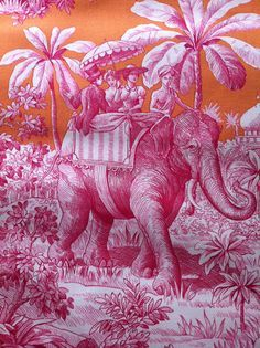 Toile de jouy - voyage en Inde #elephant #India #colonial #jouy