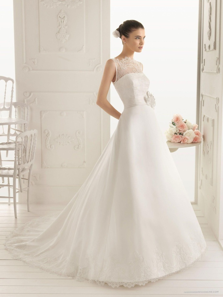Suitable satin jewel neckline a line style with lace for Wedding dress lace overlay