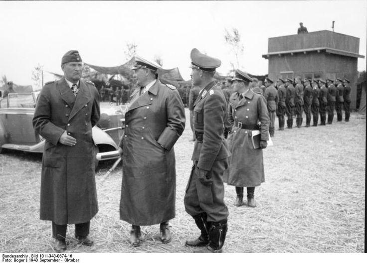 German Luftwaffe Bruno Loerzer, Hermann Göring, and Adolf Galland visiting an airfield in Belgium or France, Sep-Oct 1940.