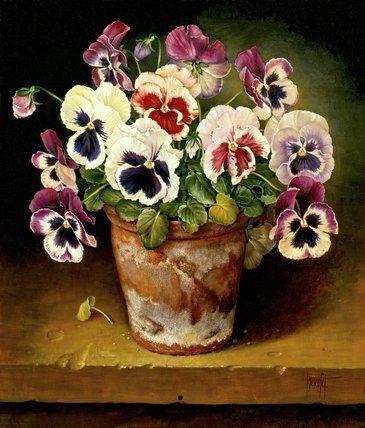 Jose Escofet - Pansies in Clay Pot, 1991